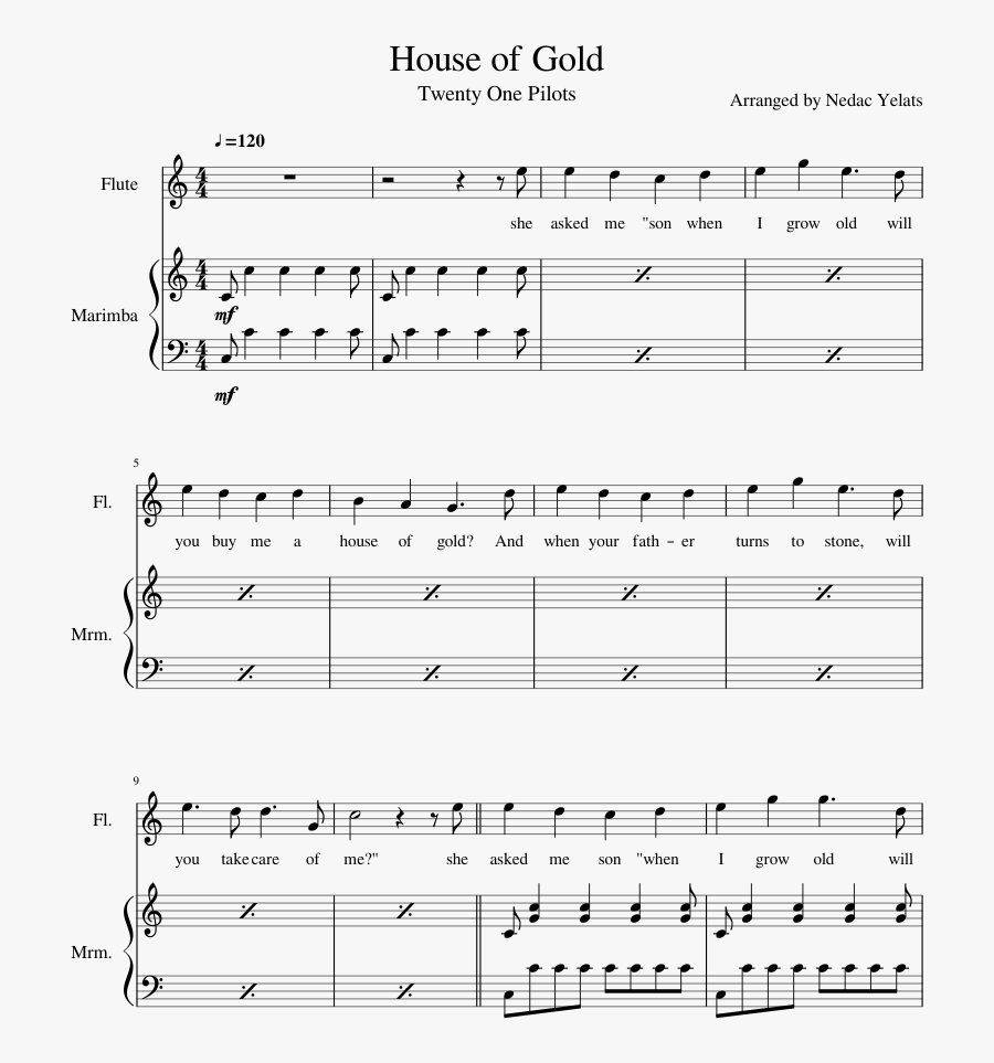 House Of Gold Sheet Music Composed By Arranged By Nedac - Wish You Were Gay Flute Sheet Music, Transparent Clipart