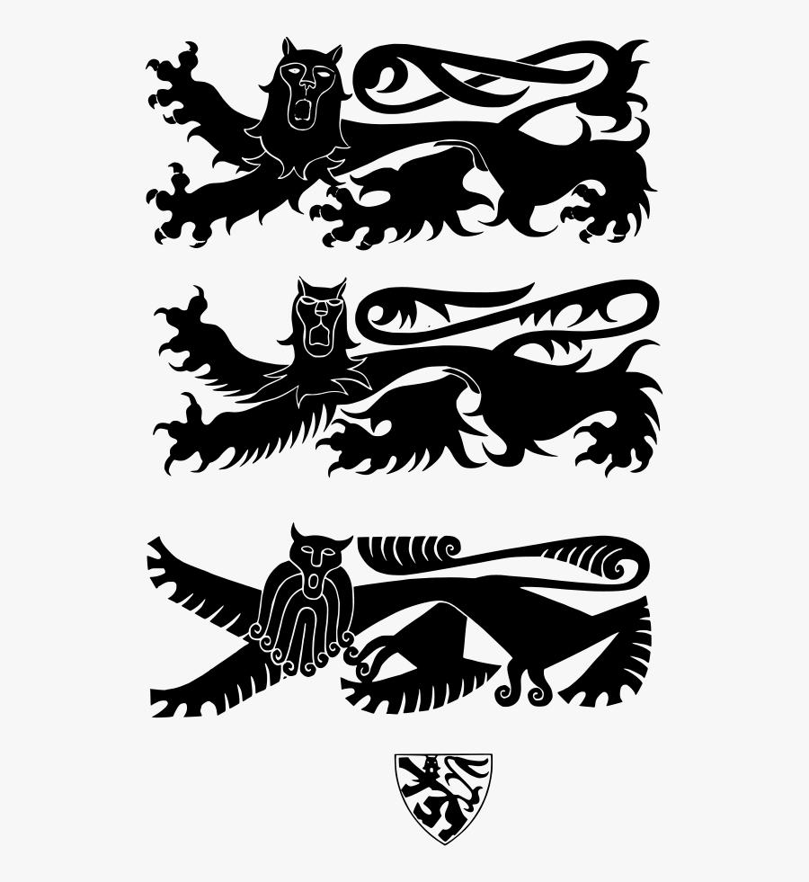 Leopard Heraldique Svg Clip Arts - Lion Leopard Heraldry, Transparent Clipart