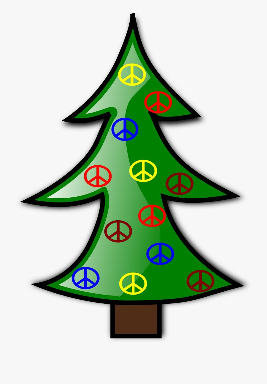 Clip Art Tree Christmas Xmas Peace Symbol Sign Svg - Small Christmas Tree Drawing, Transparent Clipart