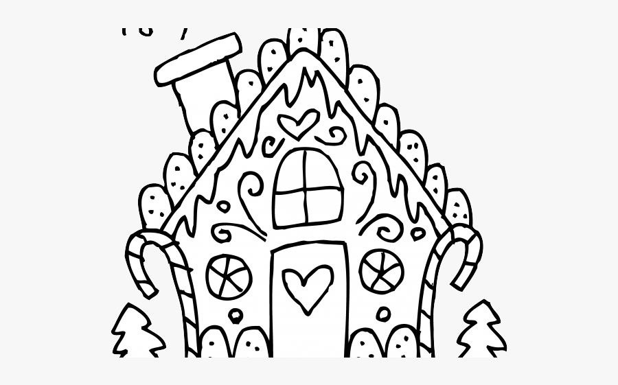 Ginger Clipart Outline - Christmas Coloring Pages Printable Gingerbread House, Transparent Clipart
