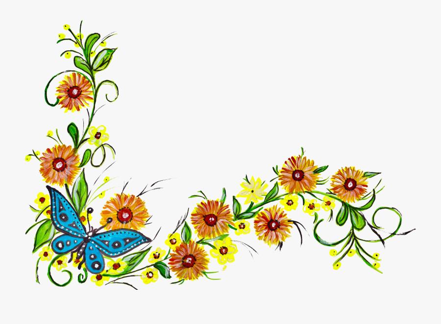 Corner Flower Design Png, Transparent Clipart