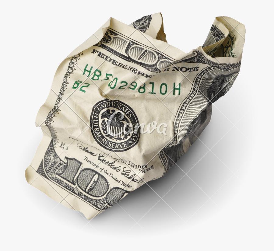 Transparent Money Stack Clipart - Crumpled 100 Dollar, Transparent Clipart