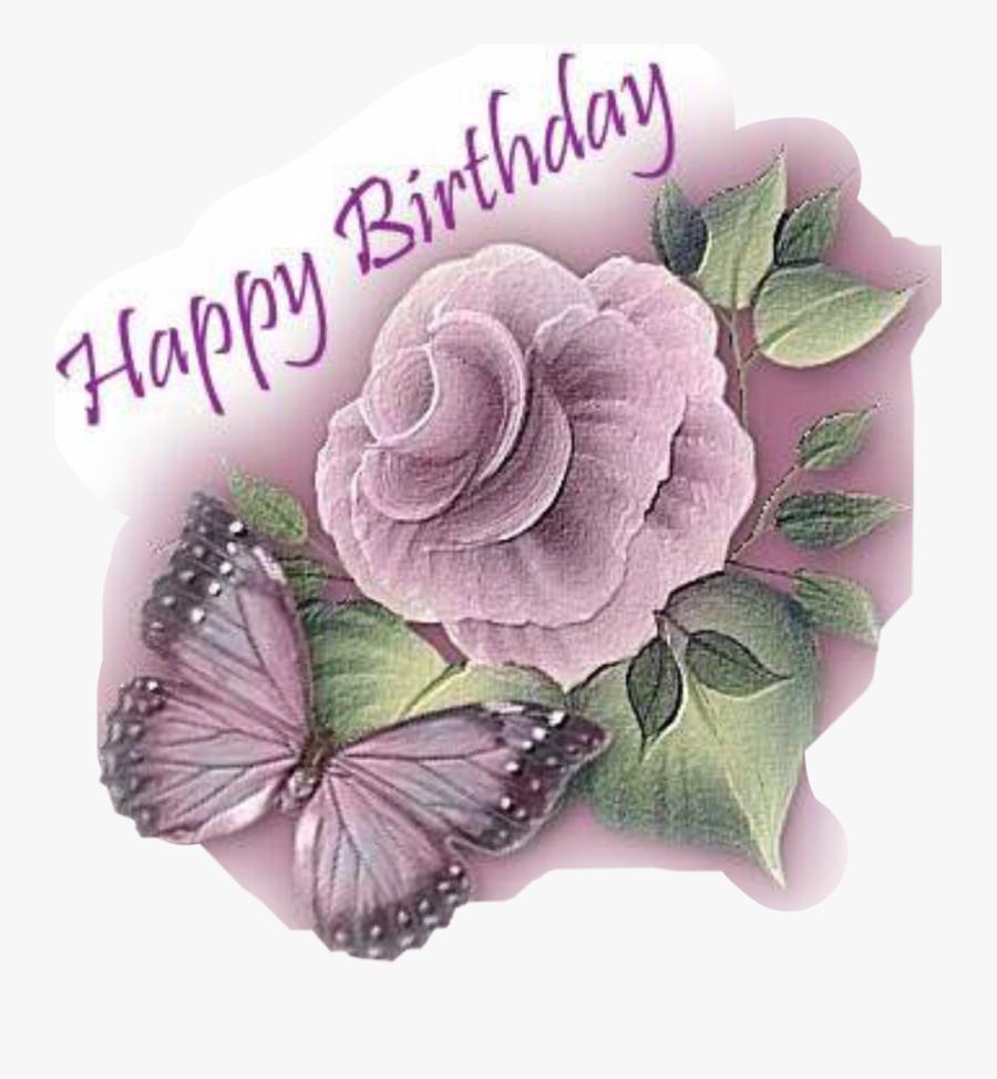 Transparent Birthday Flowers Clipart - Happy Birthday Flowers And Butterflies, Transparent Clipart