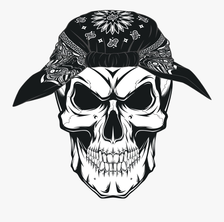 Symbolism Kerchief Skull Human Drawing Png Image High - Skull With Bandana Png, Transparent Clipart
