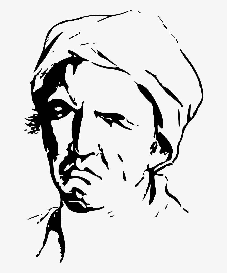 Face Expression Man - Clipart Sad Man Face Black And White, Transparent Clipart