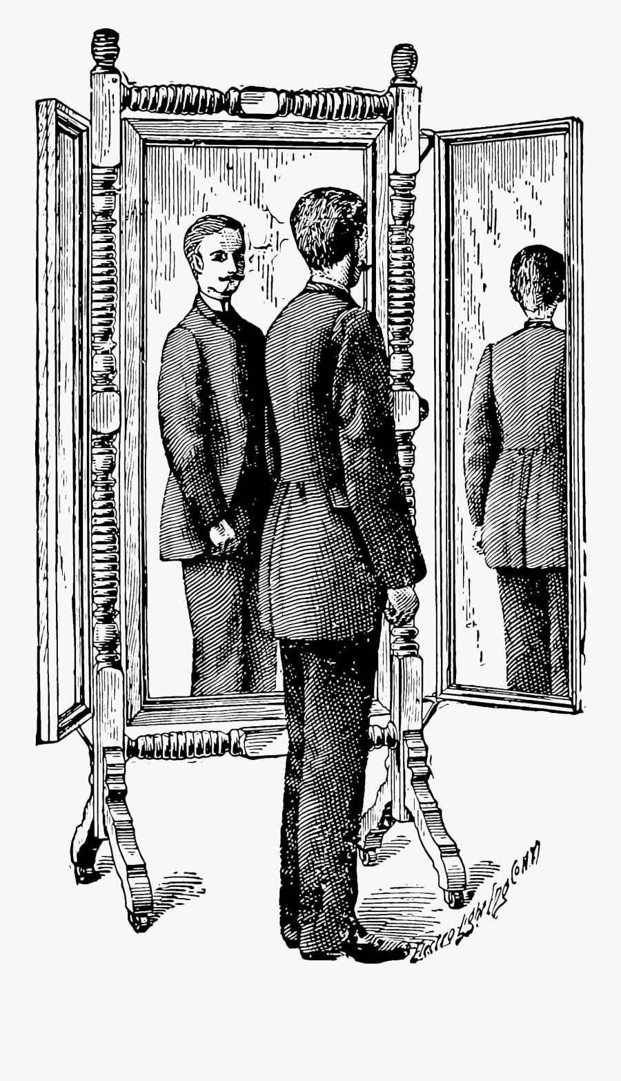 Mirror Clipart Person - Person In Mirror Drawing, Transparent Clipart