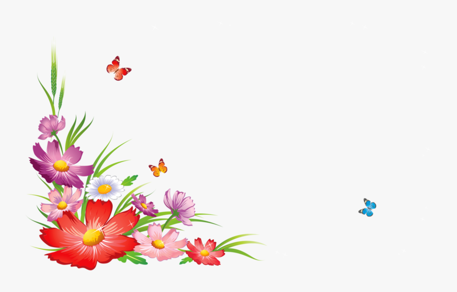 Border Design Flower With Butterfly, Transparent Clipart