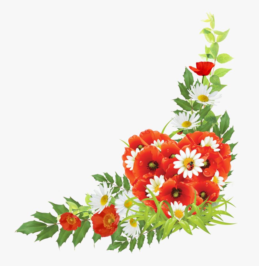 Flower Corner Design Png, Transparent Clipart