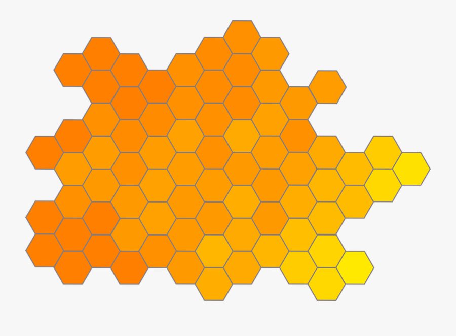 Honeycomb, Gradient, Hexagon, Orange, Yellow - Honey Bees Business Card, Transparent Clipart