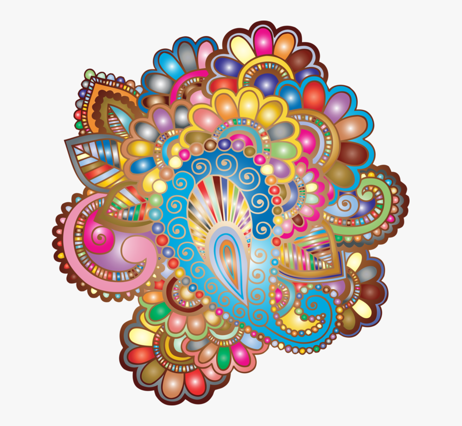 Visual Arts,flower,art - Colorful Mehndi Patterns Png, Transparent Clipart