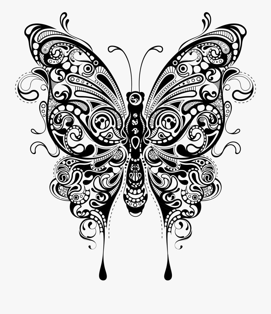 Art,symmetry,monochrome Photography - Butterfly Mandala Svg Free, Transparent Clipart