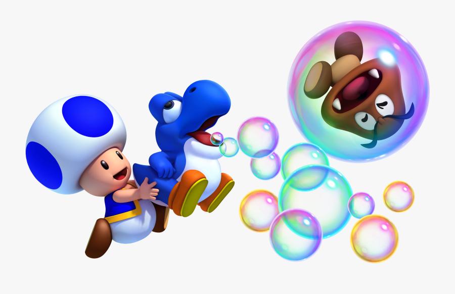 2378772-toad And Blue Baby Yoshi - Super Mario Bros Wii U Yoshi, Transparent Clipart
