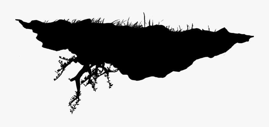 Floating Island Black And White - Floating Island Silhouette Transparent, Transparent Clipart