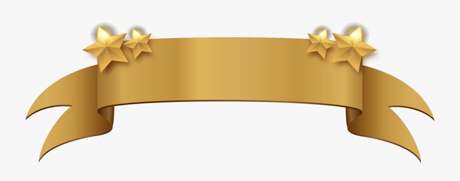 Golden Clipart Title Banner - Vector Banner Gold Ribbon, Transparent Clipart