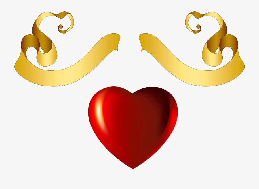Free Png Heart With Gold Banner Element Png Images - Red And Gold Hearts, Transparent Clipart