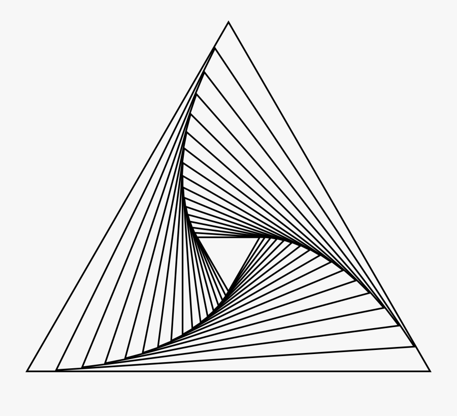 Transparent Triangle Clipart Black And White - Geometry Line Drawing, Transparent Clipart