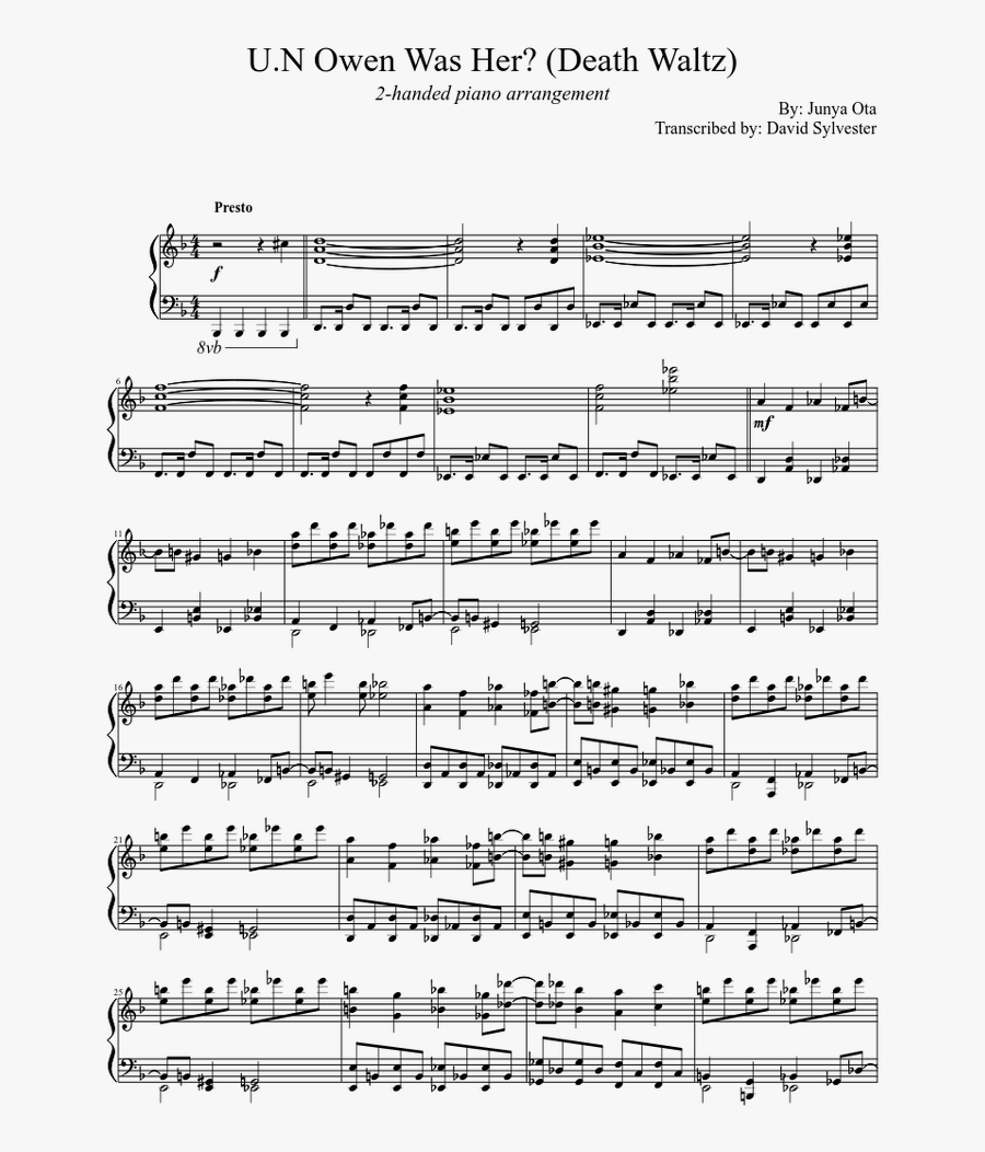 Transparent Waltz Clipart - Death Waltz Un Owen Was Her Sheet Music, Transparent Clipart