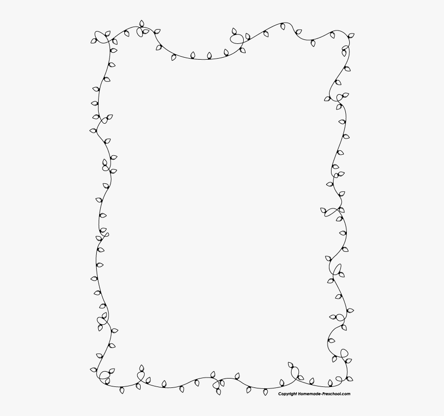 Christmas Lights Border Png Image - Borders Black And White Flowers, Transparent Clipart