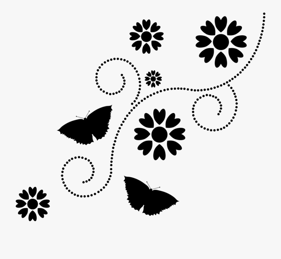 Flower Silhouette Png -flower Silhouette Floral Design - Flowers And Butterfly Silhouette, Transparent Clipart