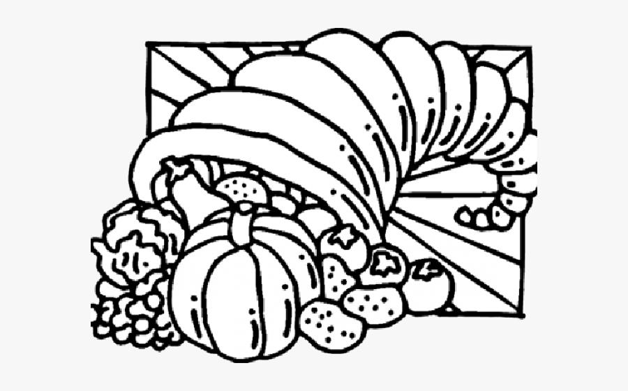 Cornucopia Clipart Bountiful - Kids Thanksgiving Coloring Pages, Transparent Clipart