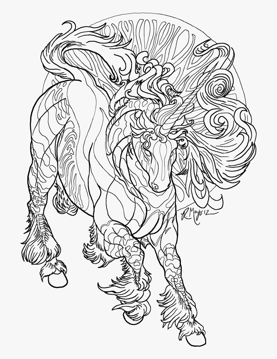 Coloring Pages Of Unicorns Free Realistic Unicorn Download - Realistic Unicorn Coloring Pages, Transparent Clipart