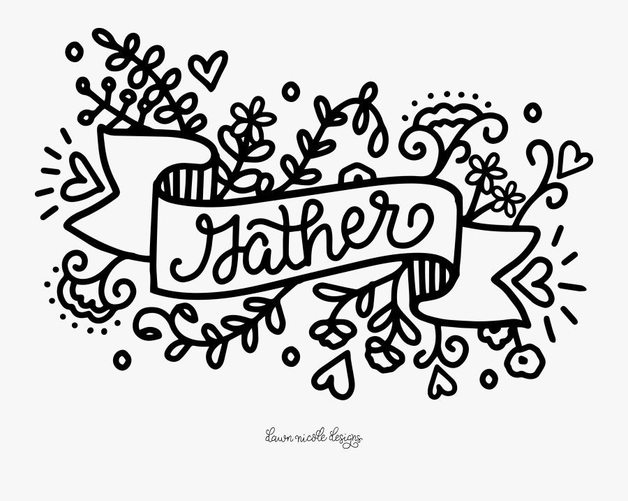 Coloring Page Calligraphy, Transparent Clipart
