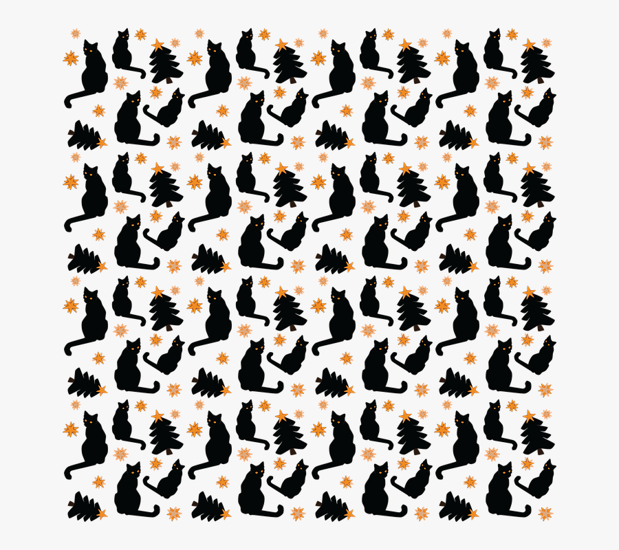 Black, Cat, Star, Christmas, Tree, Pattern, Transparent Clipart