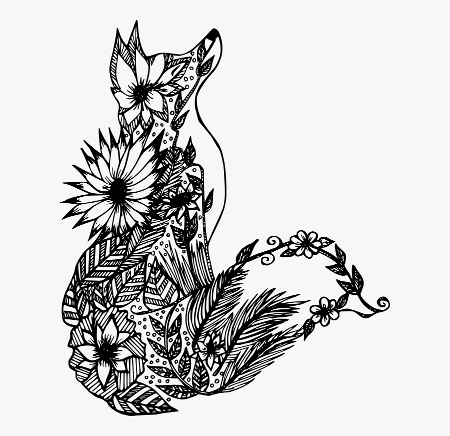 Mandala, Personal Use, Fox Flowers, - Animal Coloring Pages For Adults, Transparent Clipart