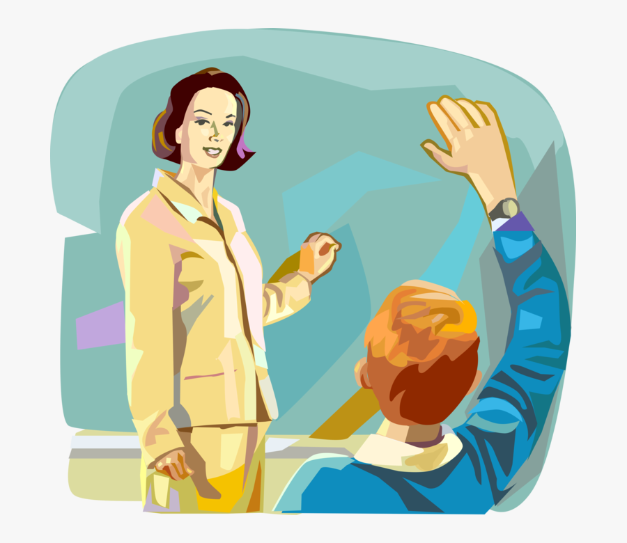 Vector Illustration Of Teacher Teaching In School Classroom - Teacher And Student, Transparent Clipart