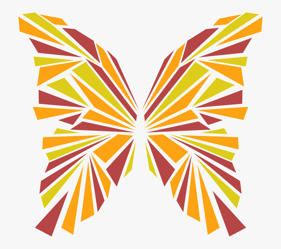 Butterfly, Abstract, Insect, Pretty, Orange, Red, Green - Abstract Insect, Transparent Clipart