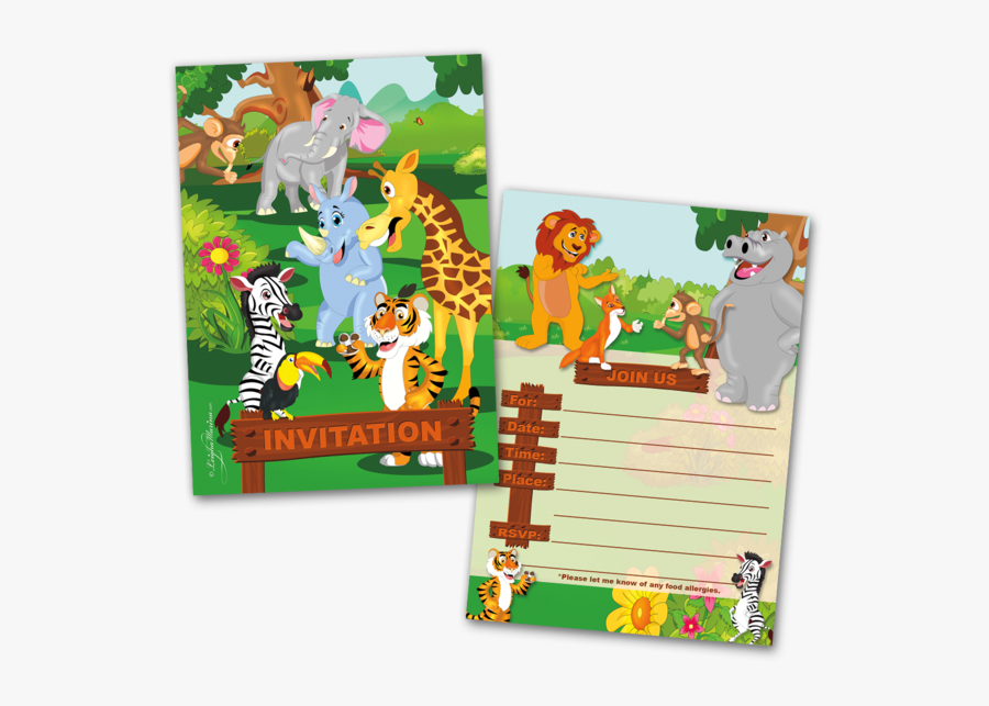 20 Kids Party Invitation Cards Jungle Animals Themed - Jungle Theme Birthday Invitation Card, Transparent Clipart