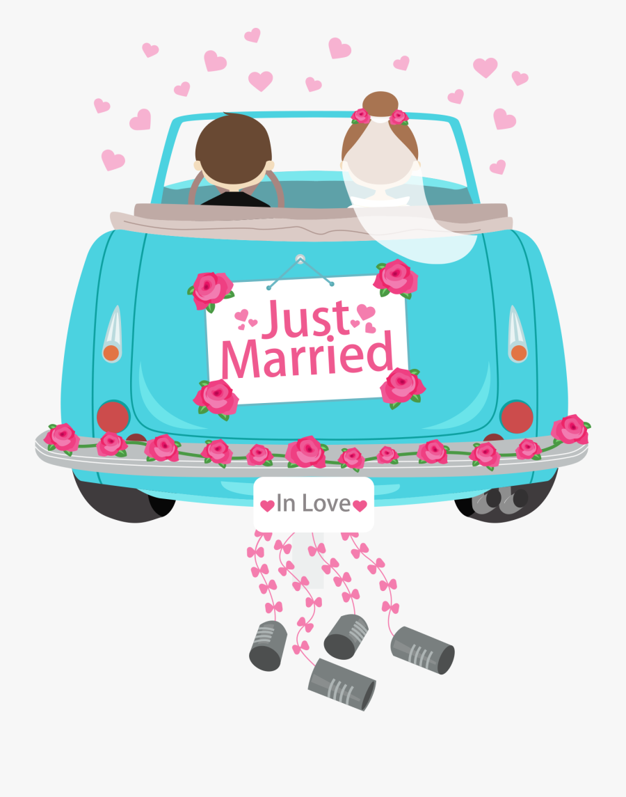 Transparent Just Married Car Clipart - Just Married Auto Cartoon, Transparent Clipart