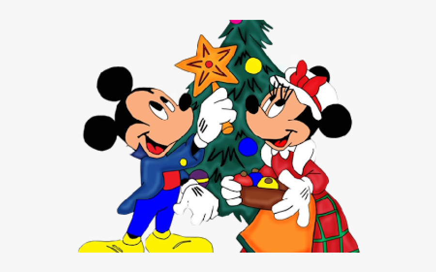 Disney Clipart Merry Christmas - Little Mouse Christmas Cartoon, Transparent Clipart