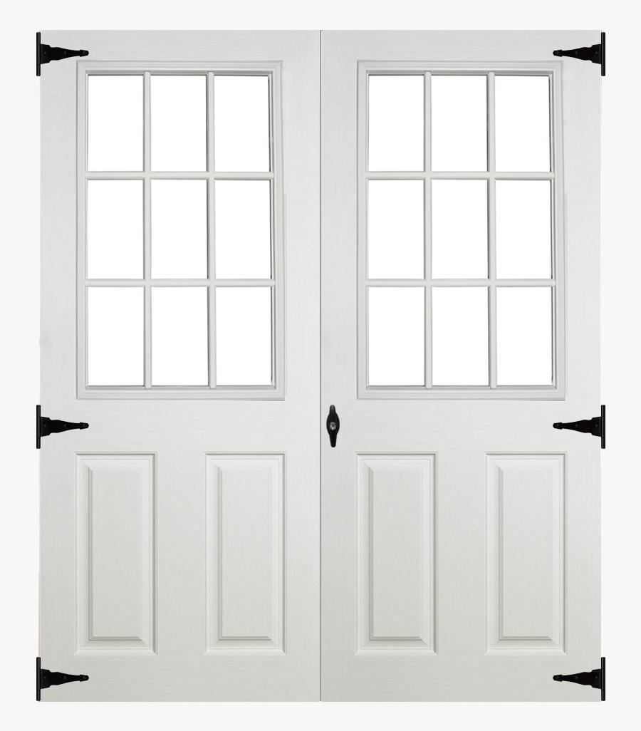 Fiberglass Slab 9 Lite Double Door For Sheds - Fiberglass Prehung Outswing Double French Door, Transparent Clipart