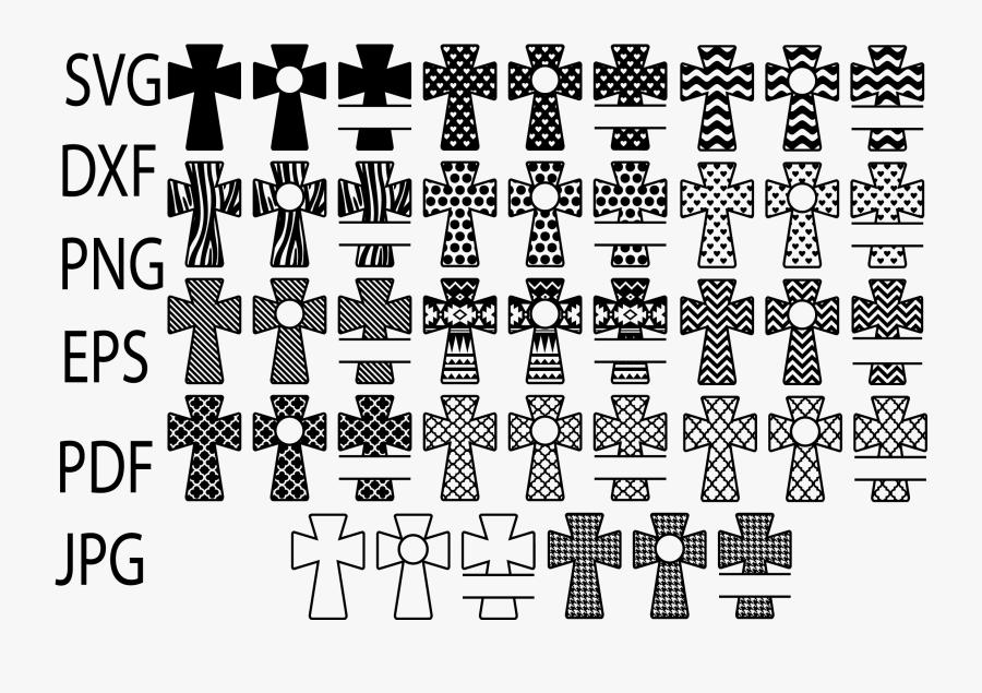 Patterned Cross Svg, Christian Svg Files, Cross Monogram - Illustration, Transparent Clipart
