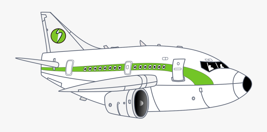 Airplane White Green Free Picture - Narrow-body Aircraft, Transparent Clipart