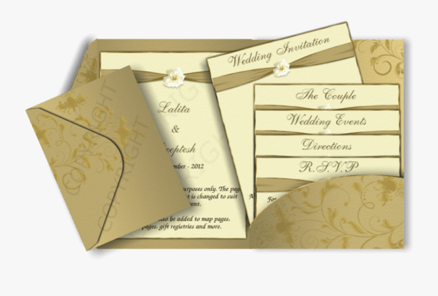Free Png Download Gold Colour Wedding Invitation Card - Indian Wedding Invitation Card Design, Transparent Clipart
