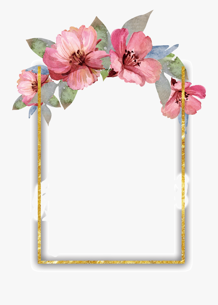 Floral Border Design Watercolor, Hd Png Download ...