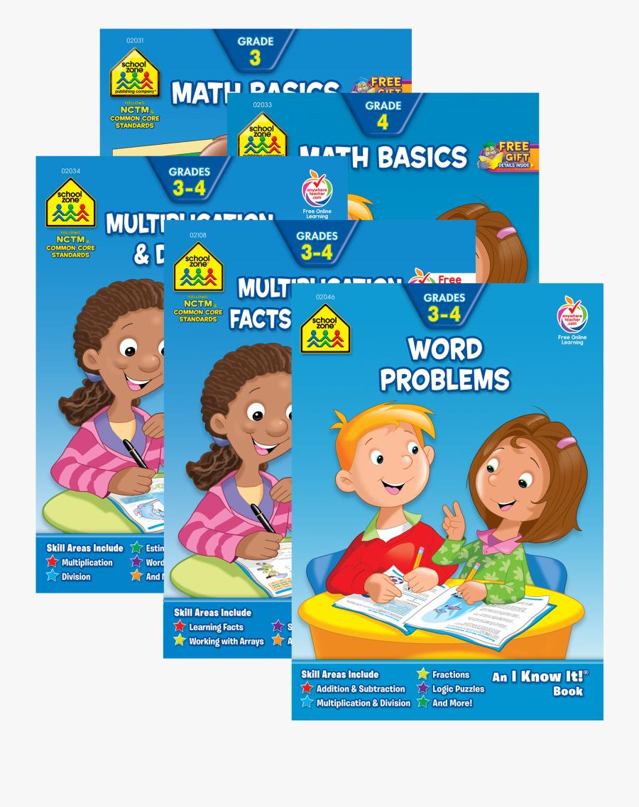 Grades 3 4 Math 32 Page Workbook Collection - Elementary School Workbooks, Transparent Clipart