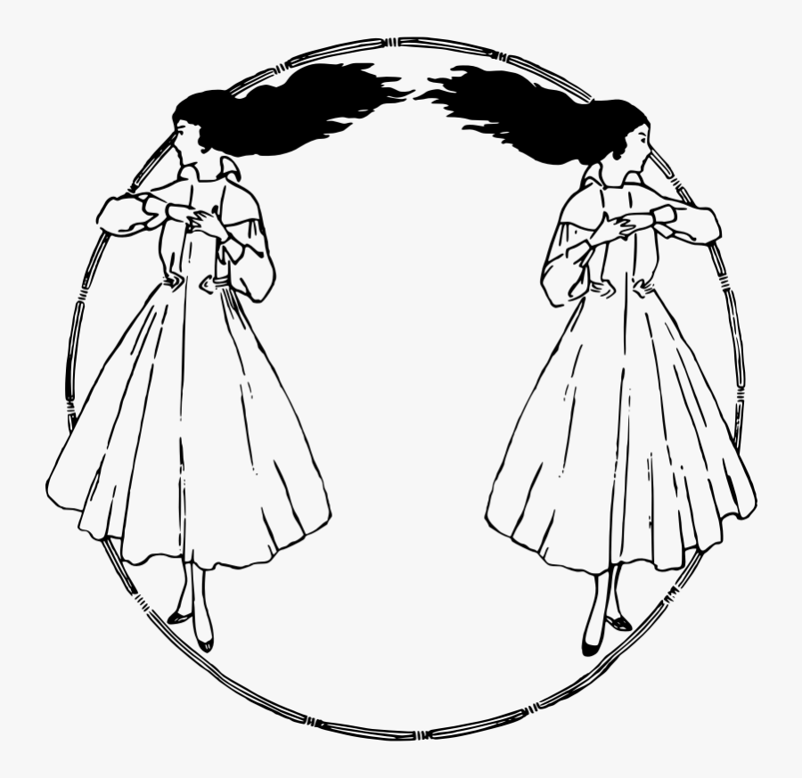 Two Girls Circle Frame - Clip Art, Transparent Clipart