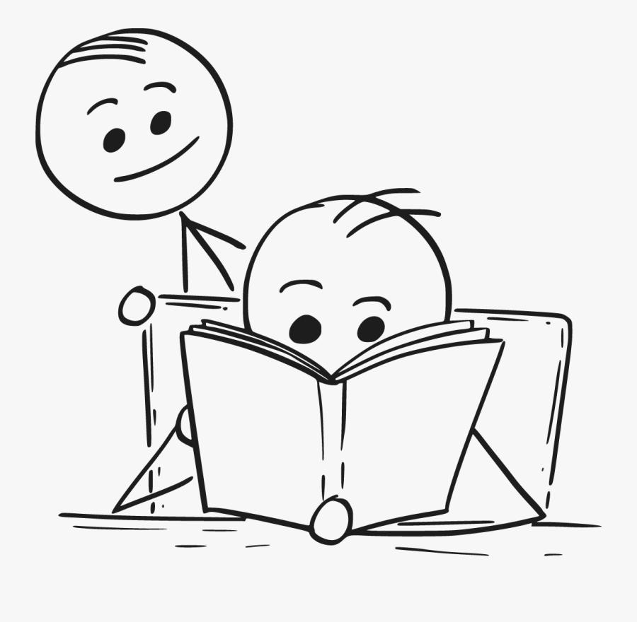 Transparent People Reading Png - Stick Man Reading A Book, Transparent Clipart