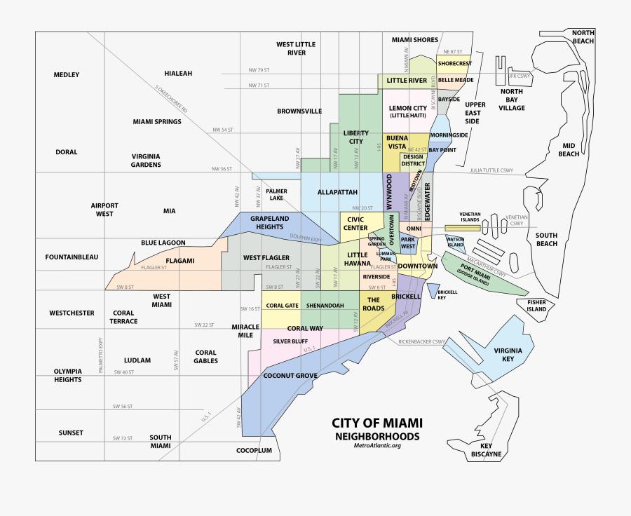 City Of Miami Neighborhoods, Transparent Clipart