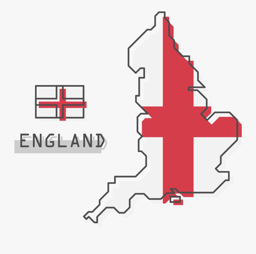 England Flag - England Map Cartoon, Transparent Clipart