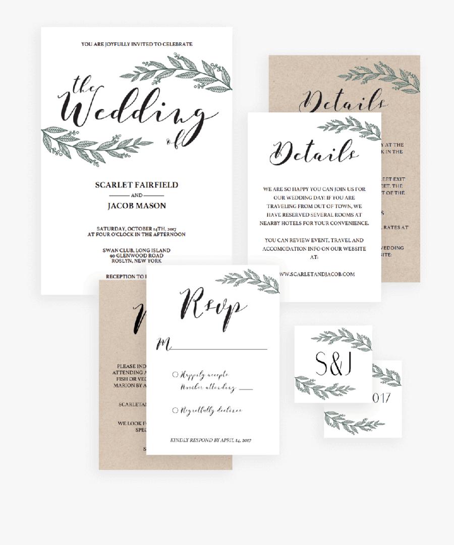 Clip Art Rustic Wedding Invitations Templates - Calligraphy, Transparent Clipart