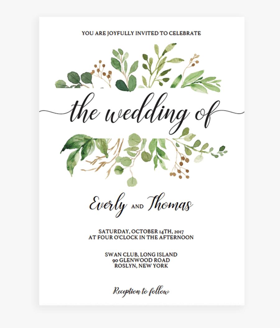 Wedding Invitation Template Green, Transparent Clipart