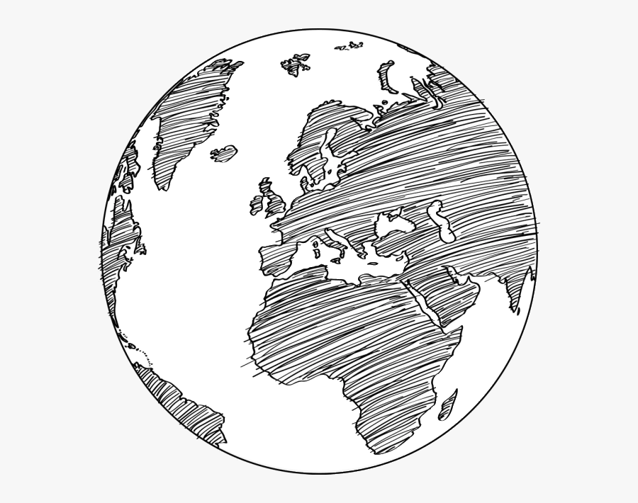 Earth Globe Drawing Sketch - Globe Sketch, Transparent Clipart