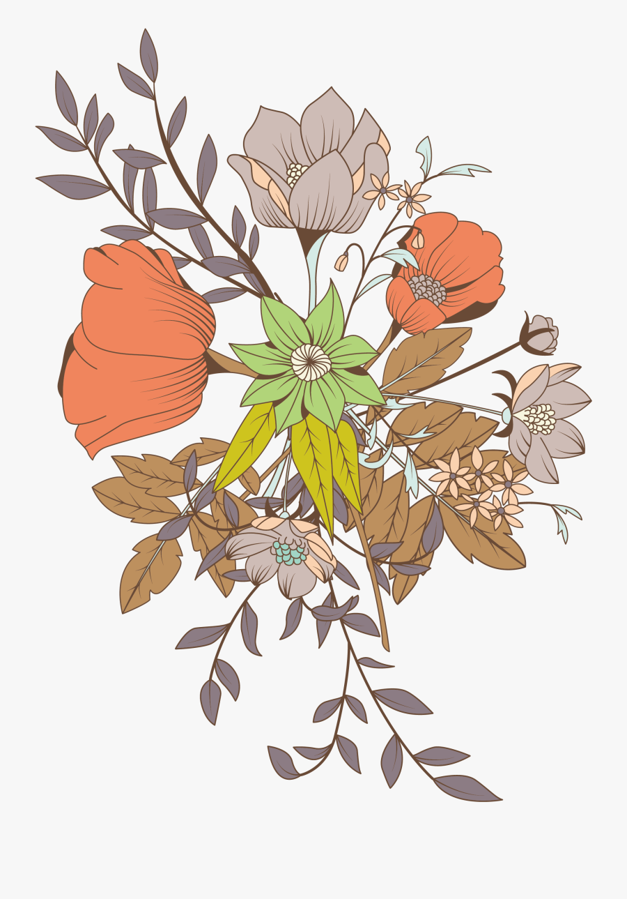 Flower Bouquet Drawing Clipart , Png Download - Background Floral Design Colored, Transparent Clipart