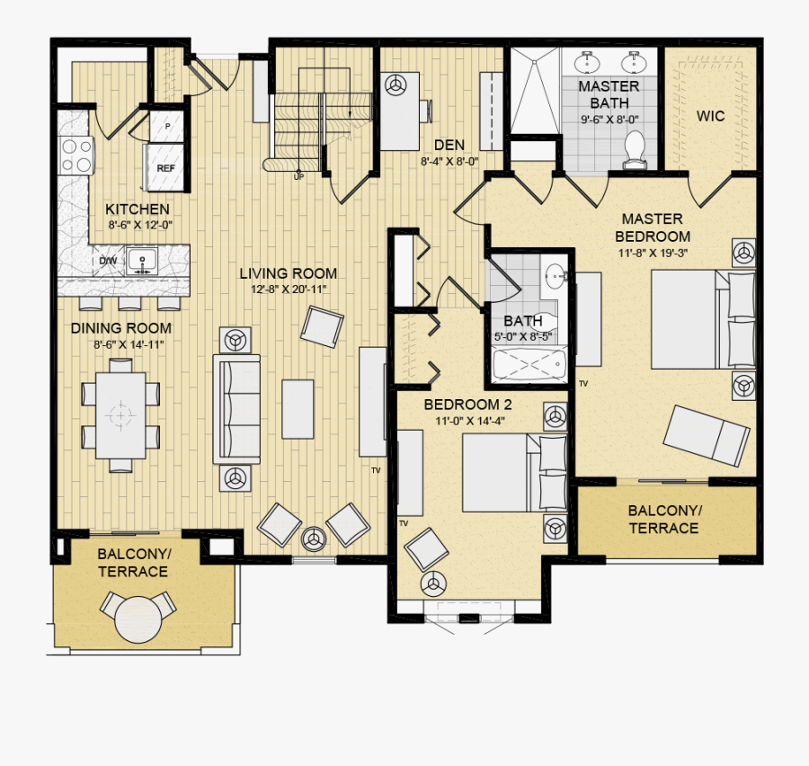 2 Bedroom Luxury Apartment Floor Plans Free Transparent Clipart Clipartkey