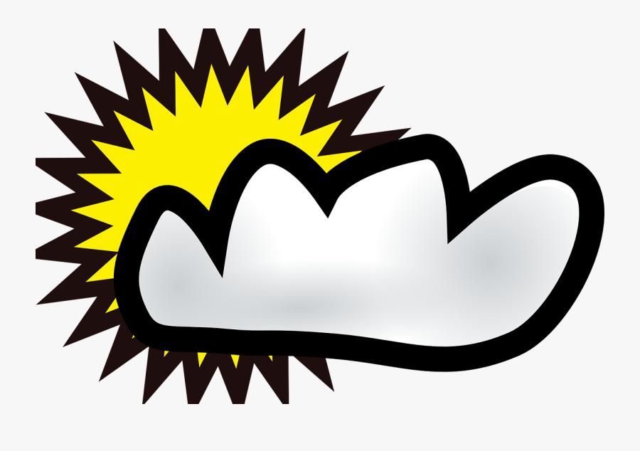 Sun, Cloud, Weather, Cartoon, Symbols, Sunny, Cloudy - Sunny Cloudy Clipart, Transparent Clipart