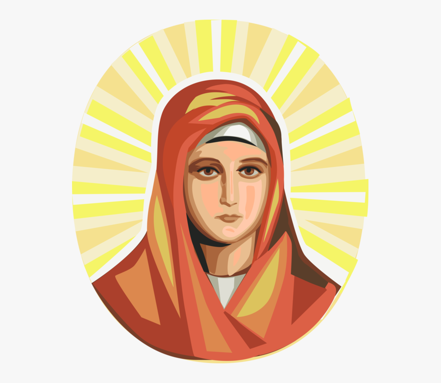 Vector Illustration Of Virgin Mary, Mother Of Jesus - Virgin Mary Illustration, Transparent Clipart